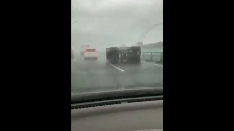 Capture d'écran d'une vidéo censée montrer le passage du typhon Hagibis au Japon (Vidéo YouTube)