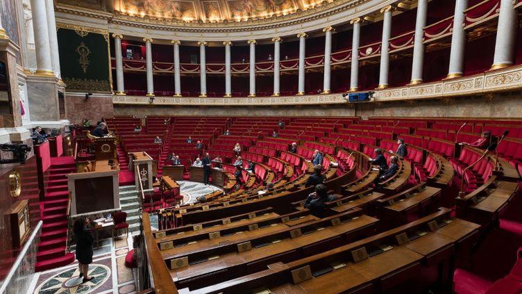 L'hémicycle de l'Assemblée nationale pendant l'épidémie de coronavirus, le 21 avril 2020. (JACQUES WITT / AFP)
