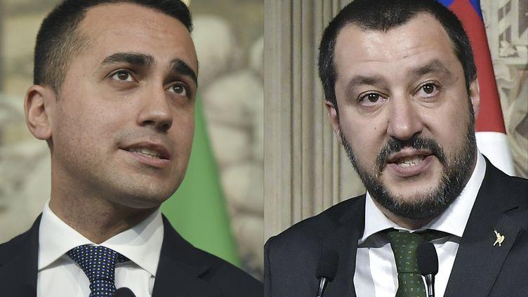 Le responsable du Mouvement 5 étoiles, Luigi Di Maio (à gauche), le 7 mai 2018, et le leader de la Ligue, Matteo Salvini (à droite), le 12 avril, à Rome. (TIZIANA FABI / AFP)