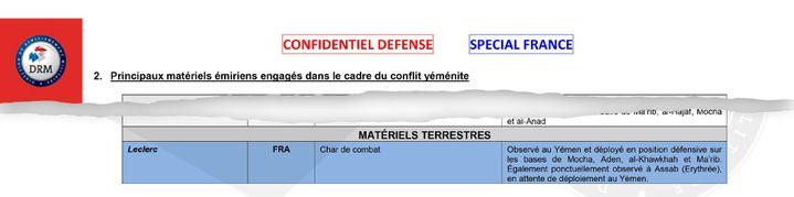 """Selon la note confidentiel défense, les chars Leclerc ont pu être observés """"au Yémen et déployé en position défensive"""", ou pour certains """"en attente de déploiement au Yémen"""". (DISCLOSE)"""