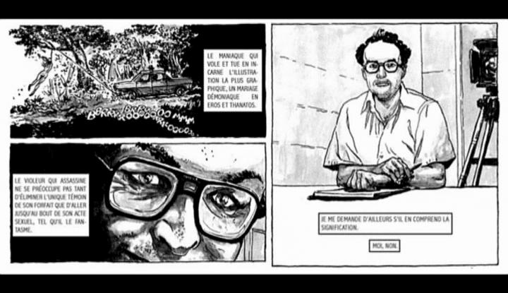 Ebauche, pas encore en couleur des albums de Stéphane Bourgoin consacrés aux tueurs en série  (France 3)