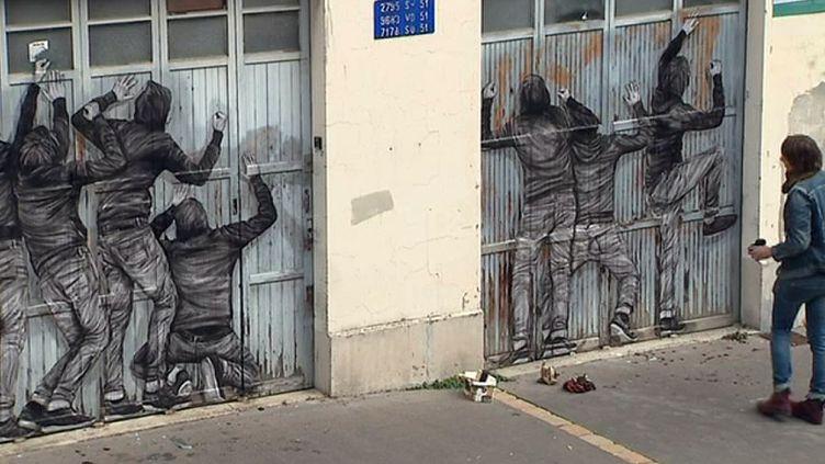 Une oeuvre de Levalet dans les rues de Reims  (France 3 Culturebox capture d'écran)