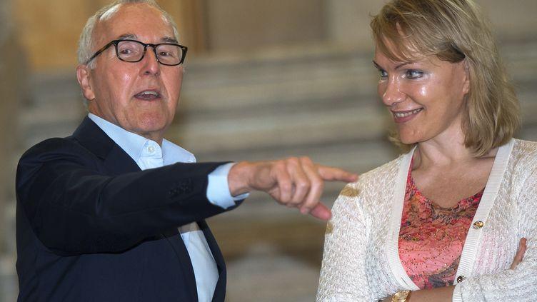 Frank McCourt etMargarita Louis-Dreyfus le 29 août 2016 (BERTRAND LANGLOIS / AFP)