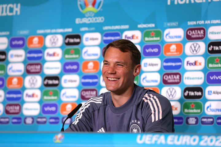 Manuel Neuer en conférence de presse, lundi 14 juin, à l'Allianz Arena de Munich. (HANDOUT / UEFA)