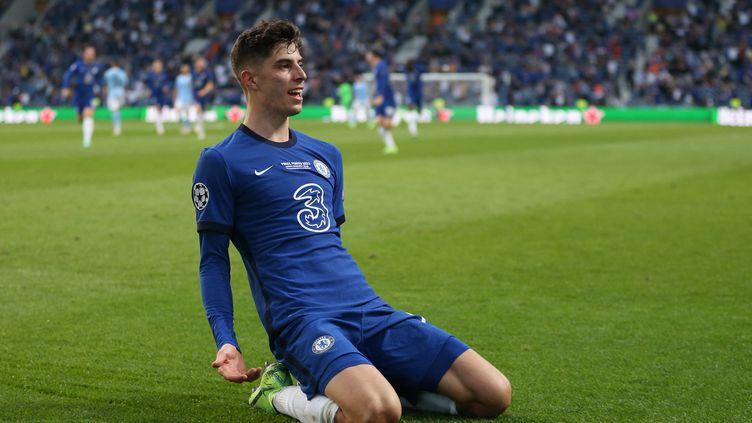 Kai Havertz célèbre son but face à Manchester City en finale de la Ligue des champions, le 29 mai 2021 (JOSE COELHO / POOL)