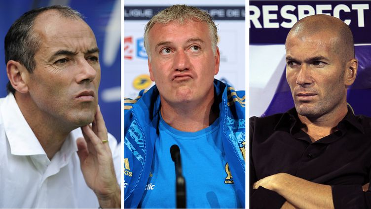 Paul Le Guen, Didier Deschampset Zinedine Zidane font partie des successeurs potentiels de Laurent Blanc au poste de sélectionneur de l'équipe de France. (ATTILA KISBENEDEK / FRANCK FIFE / AFP)