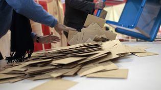 Le dépouillement du second tour des élection départementales, à Mont-Saint-Aignan (Seine-Maritime), le 29 mars 2015. (CHARLY TRIBALLEAU / AFP)