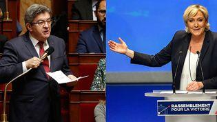 Jean-Luc Mélenchon et Marine Le Pen sont les meilleurs opposants à Emmanuel Macron selon un sondage, publié jeudi 17 mai 2018. (PHOTOS AFP)