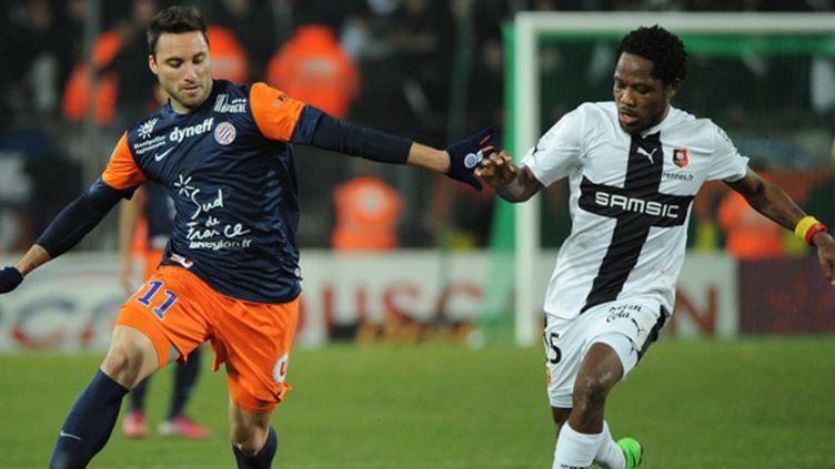 Herrera (Montpellier) face à  Makoun (Rennes) (SYLVAIN THOMAS / AFP)