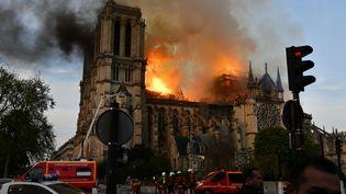 L'incendie qui a ravagé Notre-Dame de Paris, le 15 avril 2019. (DOMINIQUE BOUTIN / SPUTNIK / AFP)