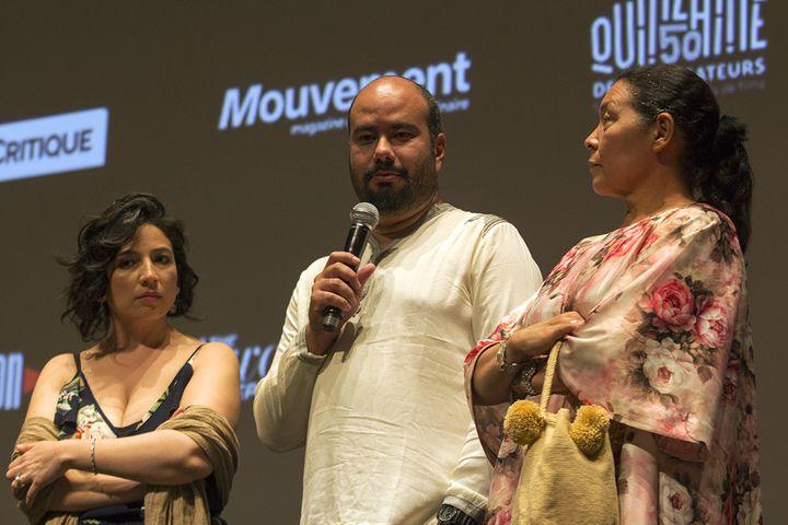 les réalisateurs Cristina Gallego (à gauche) et Ciro Guera avec la comédienne Carmina Martinez  (Jean-François Lixon)