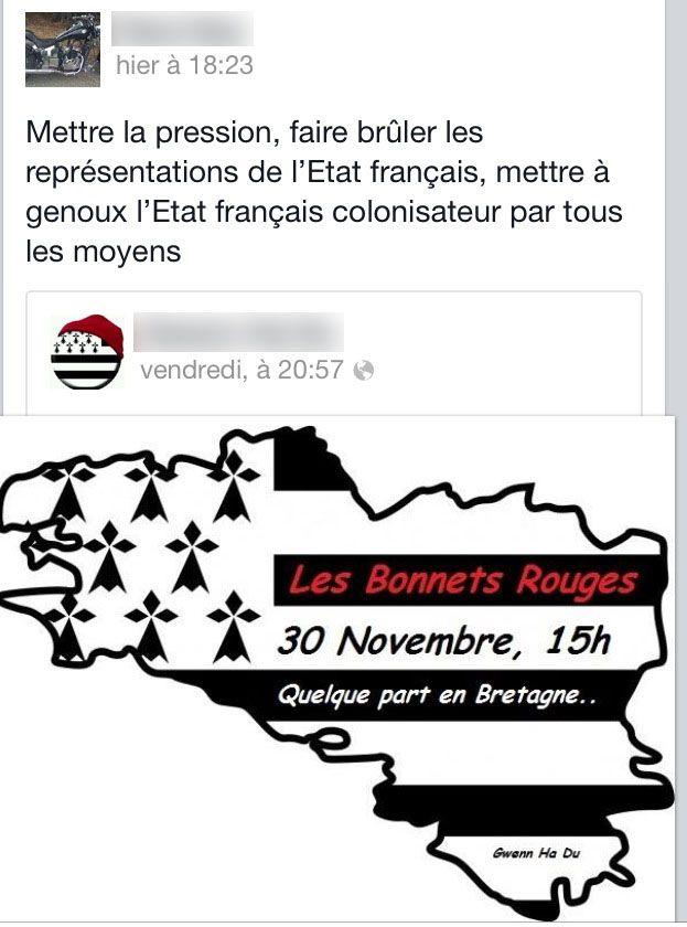 """Capture d'écran d'un message posté sur un groupe Facebook de """"Bonnets rouges"""" bretons, en novembre 2013. (SALOME LEGRAND / FRANCETV INFO)"""
