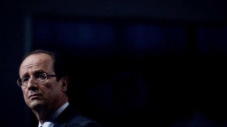 François Hollande (PS) lors de la convention d'investiture du PS en octobre 2011 (JOEL SAGET / AFP)