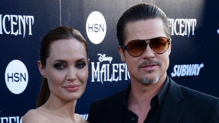 """Angelina Jolie et Brad Pitt à la première de """"Maléfique"""" le 28 mai 2014 à Los Angeles.  (Jim Ruymen/Newscom/SIPA)"""