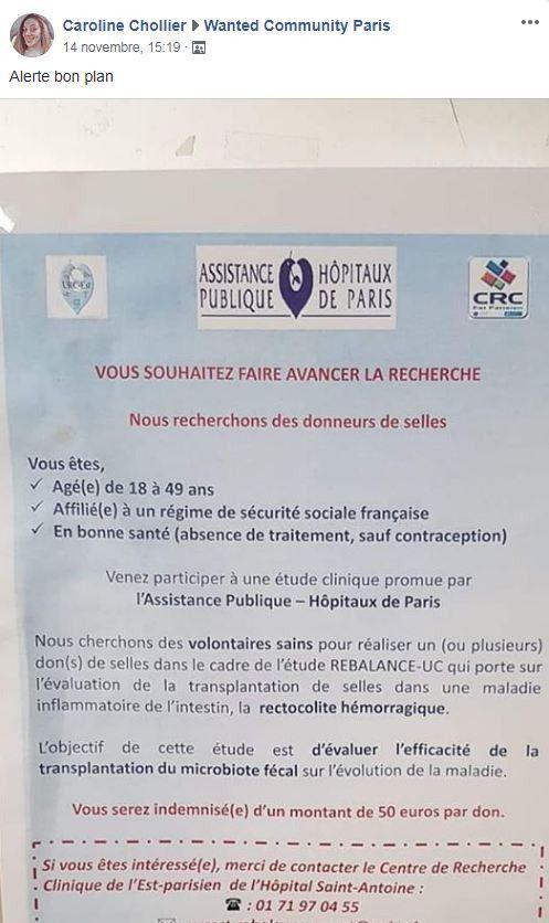 L'affiche postée par une internaute sur le dons de selles à l'Hôpital Saint-Antoine à Paris. (CAROLINE CHOLLIER / WANTED COMMUNITY PARIS)