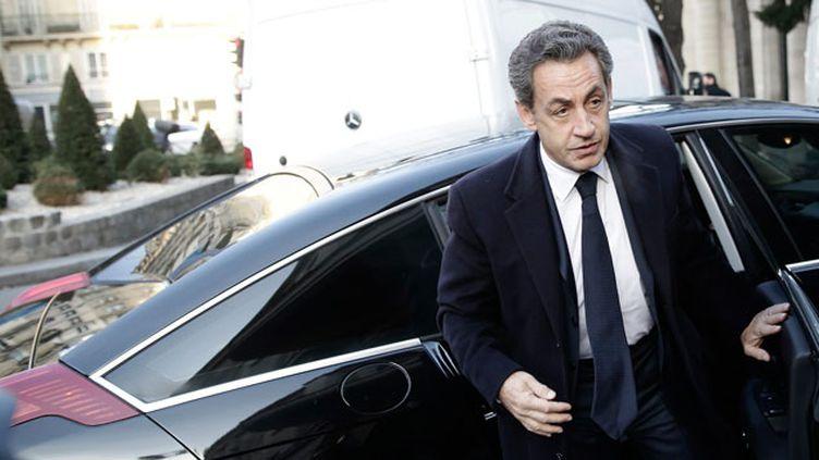 (Nicolas Sarkozy est arrivé au pôle financier de Paris ce matin © MAXPPP)