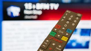 L'opérateur Free, filiale du groupe Iliad, ne diffuse plus la chaîne d'info en continu BFMTV depuis le 27 août 2019. (BENOIT DURAND / HANS LUCAS / AFP)