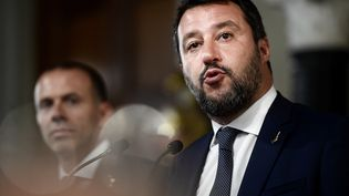Matteo Salvini, le 28 août 2019, à Rome (Italie). (FILIPPO MONTEFORTE / AFP)