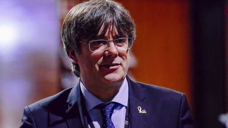 L'ancien président indépendantiste de la Catalogne Carles Puigdemont, lors d'une session plénière au Parlement européen à Strasbourg (Bas-Rhin), le 13 janvier 2020. (CHRISTOPH DE BARRY / ANADOLU AGENCY / AFP)