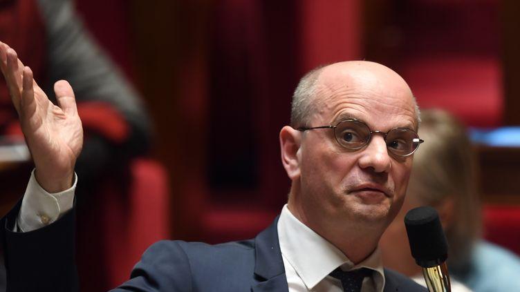 Le ministre de l'Education nationale, Jean-Michel Blanquer, lors d'une session de questions au gouvernement, le 26 mars 2019. (ERIC FEFERBERG / AFP)