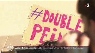 """Ce dimanche 10 octobre, un collectif d'avocats a lancé un appel dans le """"JDD"""" pour en finir avec l'épreuve du dépôt de plainte dans le cadre des violences faites aux femmes.Des rassemblements organisés à Montpellier (Hérault) ont dénoncé l'attitude au sein du commissariat central de la ville. (Capture d'écran France 2)"""