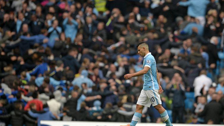 Sergio Agüero (Manchester City) a rendu ivre de bonheur l'Etihad Stadium avec son quintuplé contre Newcastle. (OLI SCARFF / AFP)