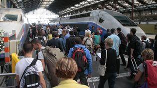 Des voyageursprennent le trainà la Gare de Lyon, le 31 juillet 2015, à Paris. (JACQUES DEMARTHON / AFP)