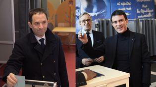 Benoît Hamon et Manuel Valls ont voté pour le second tour de la primaire de la gauche, dimanche 29 janvier 2017 à Trappes (Yvelines)et à Evry (Essonne). (CHRISTOPHE ARCHAMBAULT / AFP)