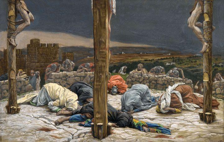 """James Tissot, """"Le Tremblement de terre"""", vers 1886-1894, gouache et graphite sur papier vergé gris, Etats-Unis, New York, Brooklyn Museum (Photo © Brooklyn Museum)"""