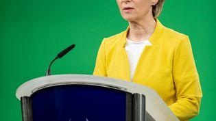 La présidente de la Commission européenne, le 6 mai 2021 à Bruxelles (Belgique) lors d'une conférence. (EUROPEAN COMMISSION/ POOL / ANADOLU AGENCY / AFP)