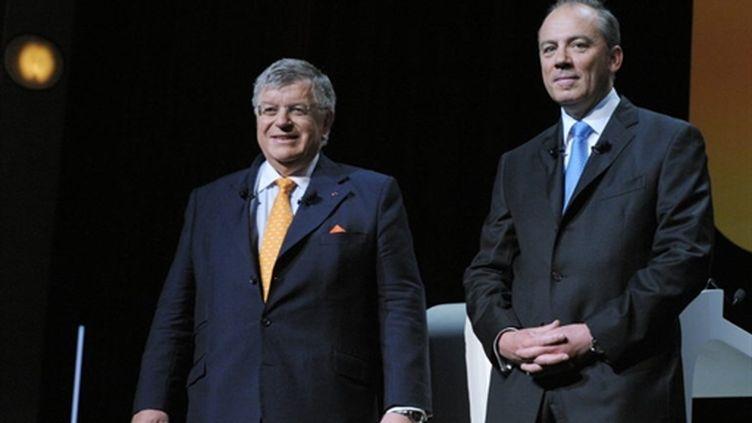 Didier Lombard (G) et Stéphane Richard le 9 juin 2010 à Paris (AFP / Eric Piermont)