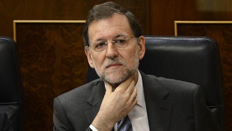 Le Premier ministre espagnol, Mariano Rajoy, le 13 juin 2012 à Madrid (Espagne)lors d'une séance du Parlement. (DANI POZO / AFP)