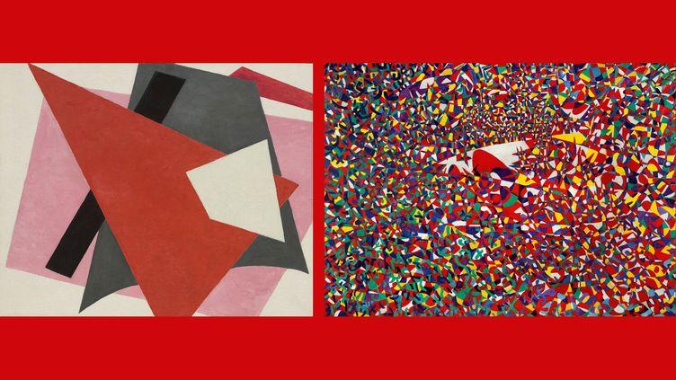 "A gauche, Liubov Popova, ""Painterly Architectonic"", 1917 New York, Museum of Modern Art - A droite, Fahrelnissa Zeid, ""The Arena of the Sun"", 1954 (A gauche © 2021. Digital image, The Museum of Modern Art, New York/Scala, Florence- A droite ©Raad Zeid Al-Hussein © İstanbul Museum of Modern Art Photo: Reha Arcan)"