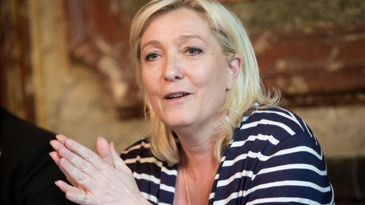 Marine Le Pen, lors d'une conférence de presse, à Paris, le 18 mai 2015. (MAXPPP)