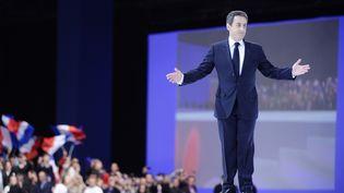 Nicolas Sarkozy, lors du meeting de Villepinte (Seine-Saint-Denis), le 11 mars 2012. (LIONEL BONAVENTURE / AFP)
