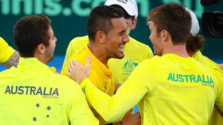 La joie de Nick Kyrgios et du clan australien (PATRICK HAMILTON / AFP )