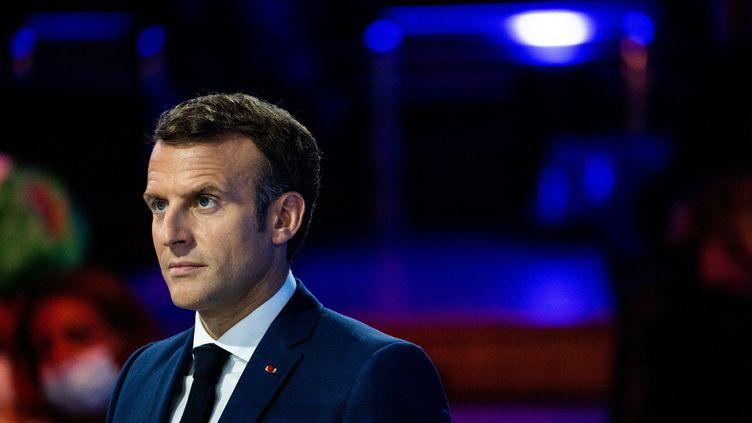 Le président de la République, Emmanuel Macron, lors de la cérémonie d'ouverture du Forum Génération Egalité, le 30 juin 2021 à Paris. (XOSE BOUZAS / HANS LUCAS / AFP)