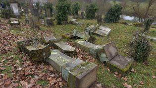 Des tombes profanées au cimetière juif de Sarre-Union (Bas-Rhin), le 17 février 2015. (PATRICK HERTZOG / AFP)
