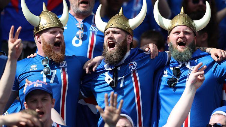 Des supporters islandais, le 22 juin 2016, lors de lavictoire de l'Islande contre l'Autriche à Saint-Denis (Seine-Saint-Denis). (KIERAN MCMANUS / BACKPAGE IMAGES LTD / AFP)