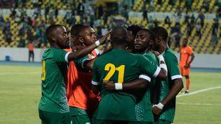Les joueurs des Comores fêtent un but face au Kenya, en novembre 2020