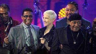 Final du concert du Jazz Day 2015 : Femi Kuti, Herbie Hancock, Annie Lennox, James Genus, Al Jarreau et Dee Dee Bridgewater (Paris, 30 avril 2015).  (Kristy Sparow / Getty Images / AFP)