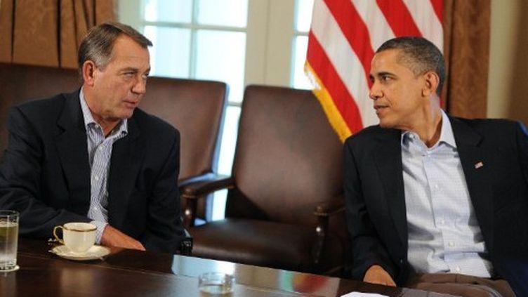Le président Barack Obama avec le leader de la Chambre des représentants, John Boehner, à la Maison blanche le 23-7-2011 (AFP - Jewel Samad)