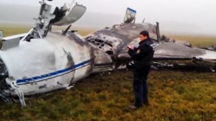 L'avion de Christophe de Margerie, PDG de Total, s'est écrasé le 20 octobre 2014 à l'aéroport de Vnoukovo, à Moscou (Russie). (RIA NOVOSTI / AFP)