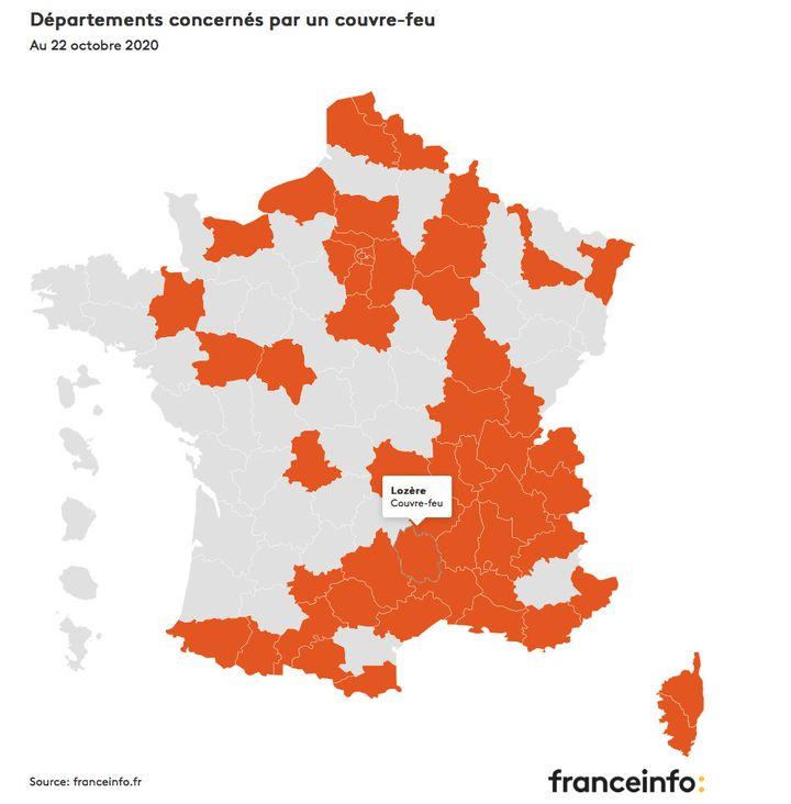 Les départements concernés par le couvre-feu au 22 octobre 2020. (FRANCEINFO)