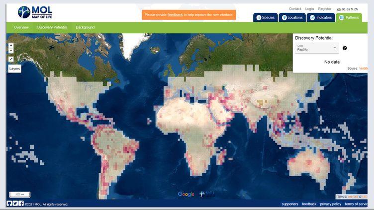 Carte des espèces à découvrir élaborée par des chercheurs de l'université de Yale. (MAP OF LIFE)
