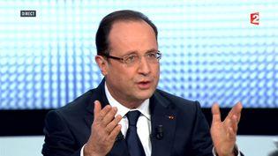 Le président français, François Hollande, sur France 2 le 28 mars 2013. (FRANCE 2 / AFP)