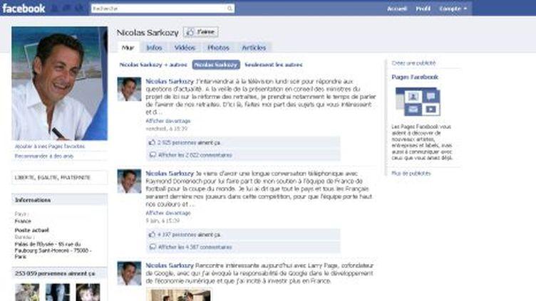 """Nicolas Sarkozy compte plus de 250 000 """"amis"""" sur le réseau social Facebook. (DR)"""