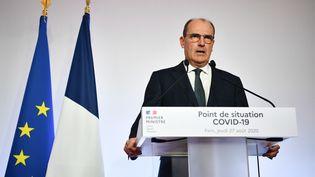 Jean Castex lors de la conférence de presse sur la situation sanitaire en France, le 27 août 2020. (CHRISTOPHE ARCHAMBAULT / AFP)