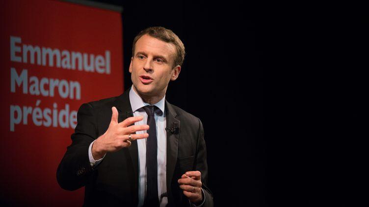 Emmanuel Macron s'exprime lors d'un événement organisé par le collectif Elles marchent, le 8 mars 2017 à Paris. (QUENTIN VEUILLET / CITIZENSIDE / AFP)