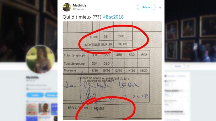 Capture d'écran d'un post Twitter d'une bachelière, publié le 6 juillet 2018. (TWITTER / FRANCEINFO)